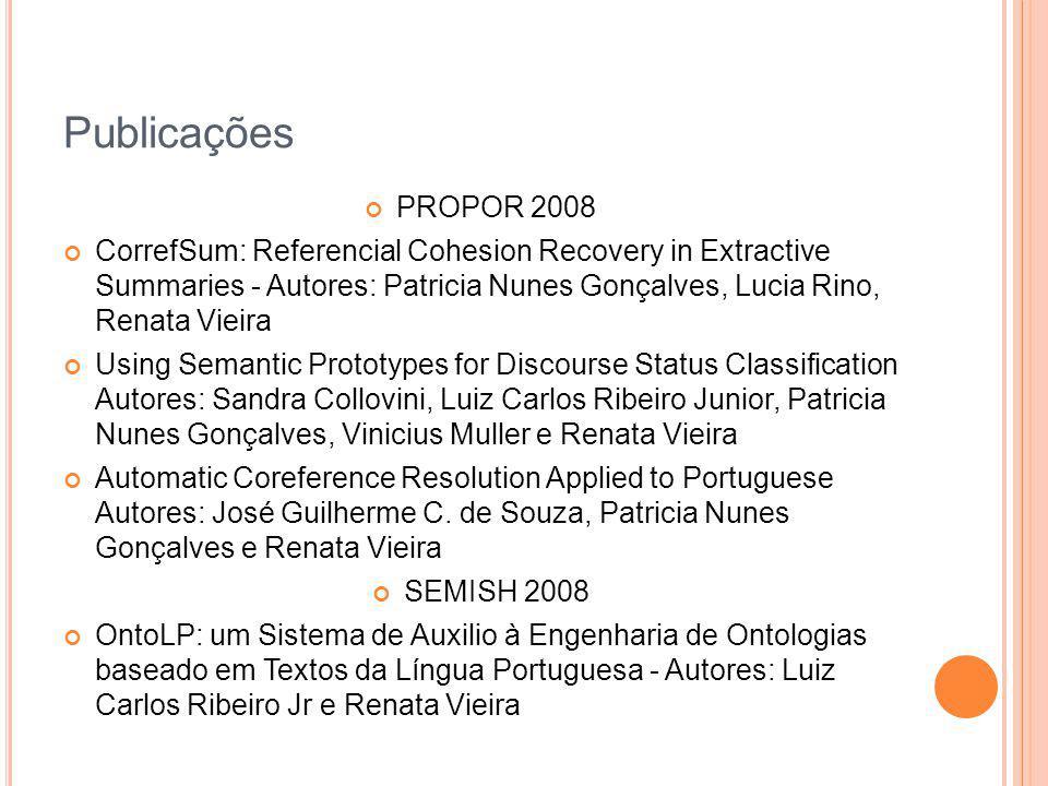Publicações PROPOR 2008.