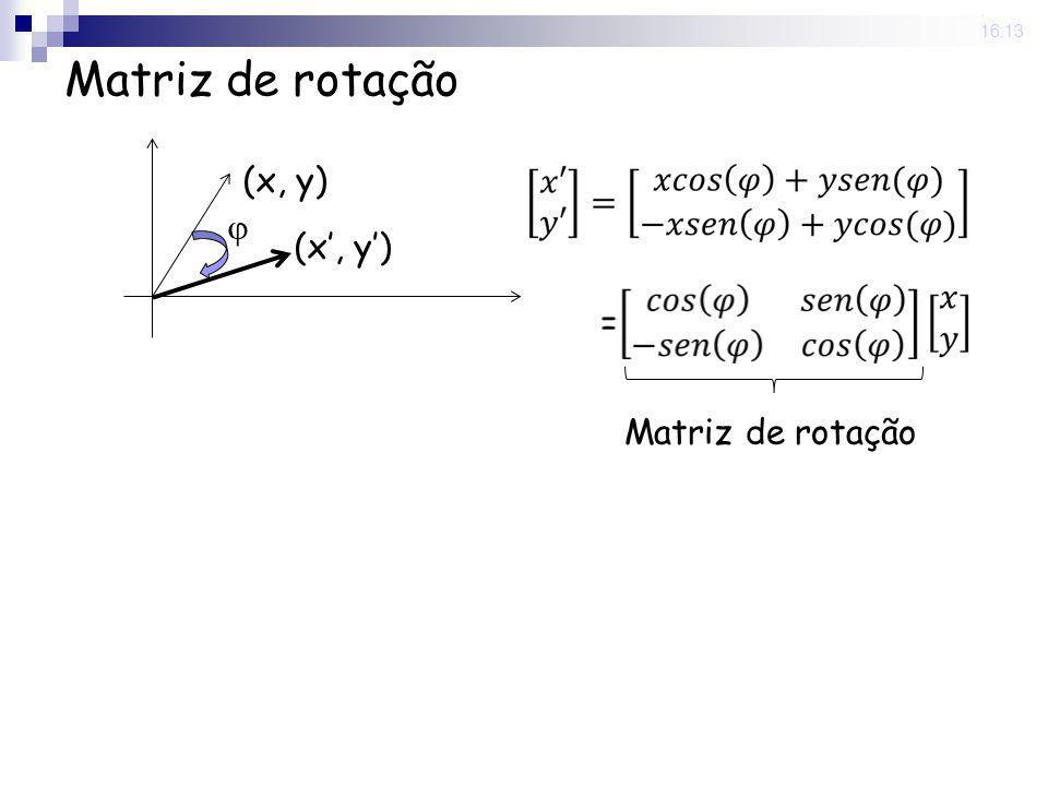 Matriz de rotação  (x, y) (x', y') Matriz de rotação