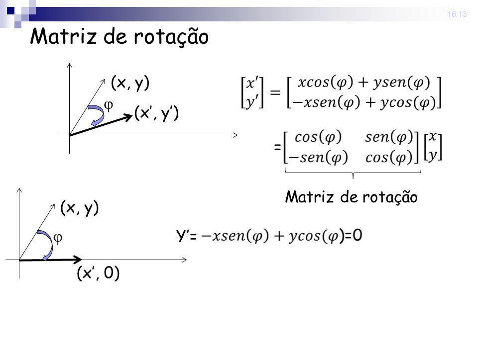 Matriz de rotação  (x, y) (x', y') Matriz de rotação  (x, y) (x', 0)