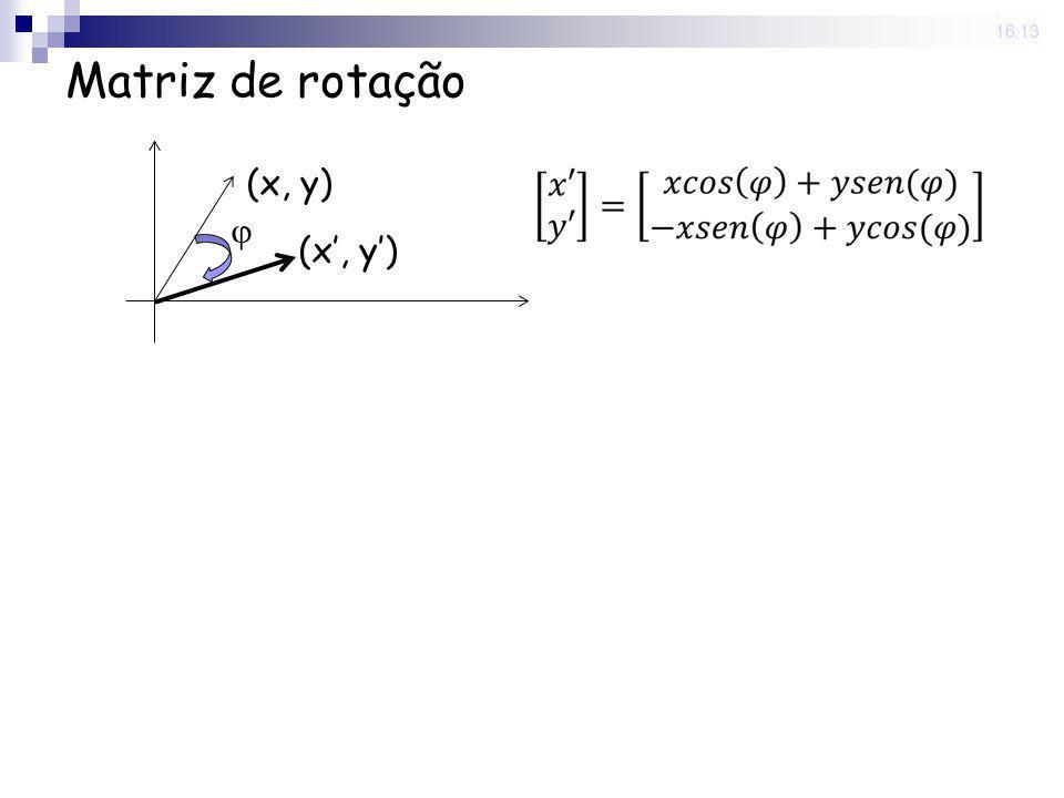 25 Nov 2008 . 16:13 Matriz de rotação  (x, y) (x', y')
