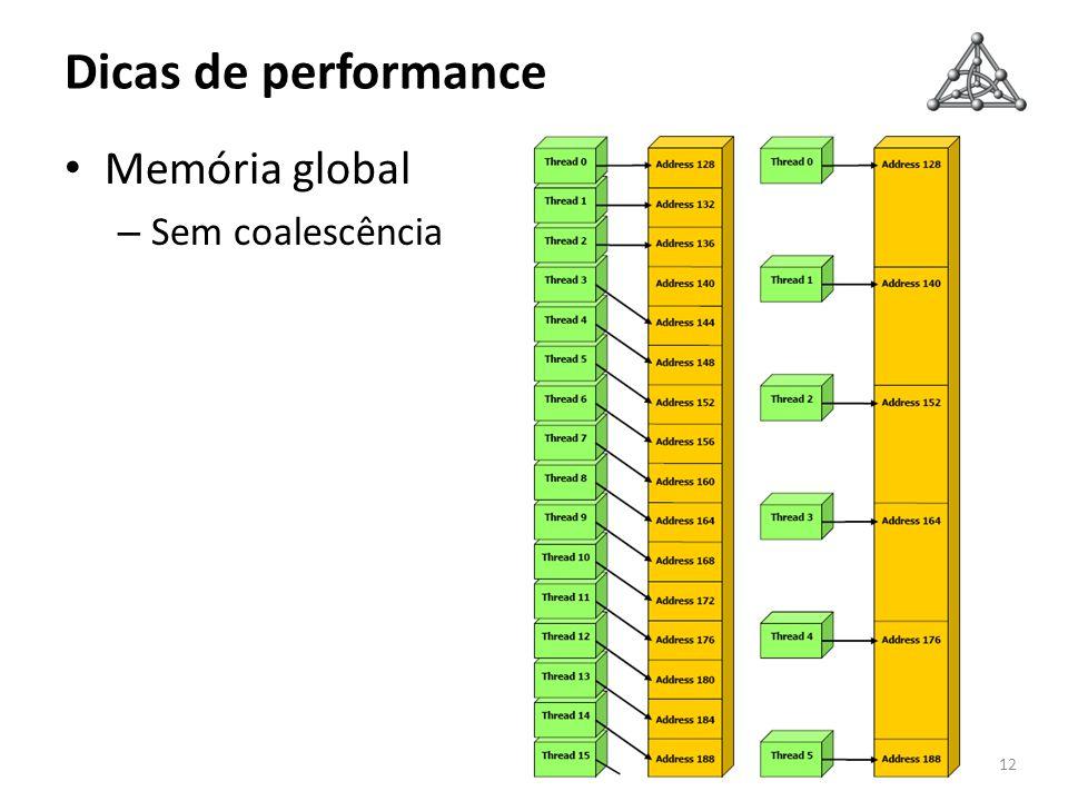 Dicas de performance Memória global Sem coalescência