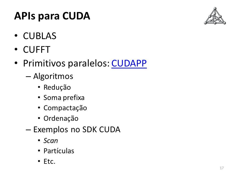 APIs para CUDA CUBLAS CUFFT Primitivos paralelos: CUDAPP Algoritmos