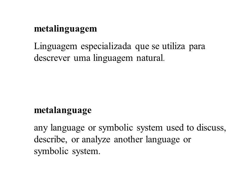 metalinguagem Linguagem especializada que se utiliza para descrever uma linguagem natural. metalanguage.