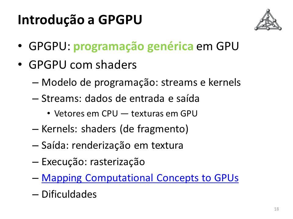 Introdução a GPGPU GPGPU: programação genérica em GPU
