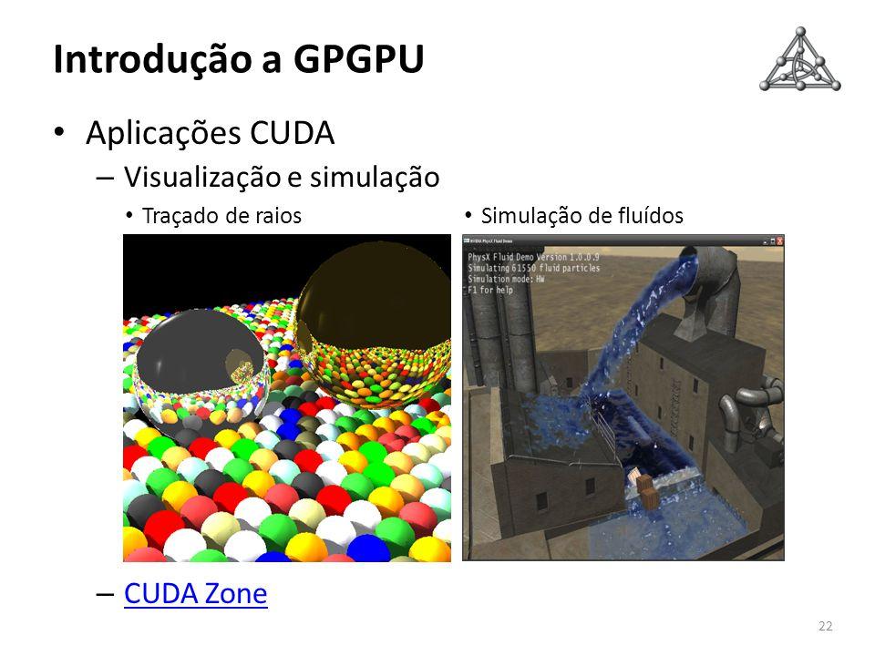 Introdução a GPGPU Aplicações CUDA Visualização e simulação CUDA Zone