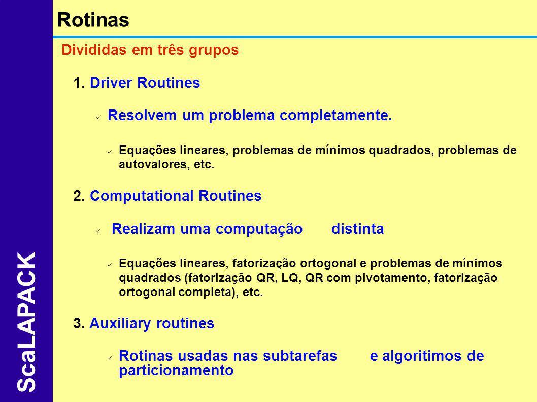 ScaLAPACK Rotinas Divididas em três grupos Driver Routines