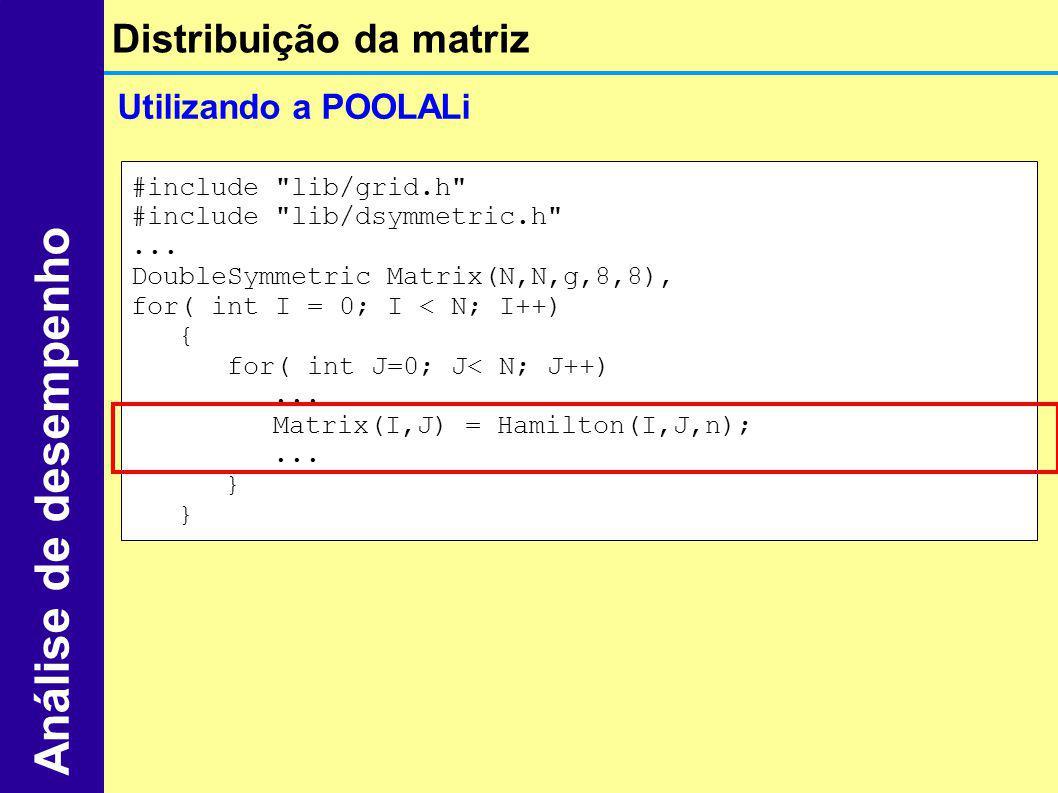 Análise de desempenho Distribuição da matriz Utilizando a POOLALi