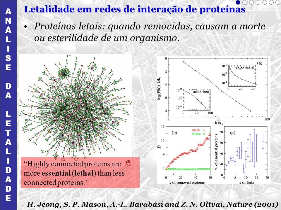 A N. Á. L. I. S. E. D. T. Letalidade em redes de interação de proteínas.