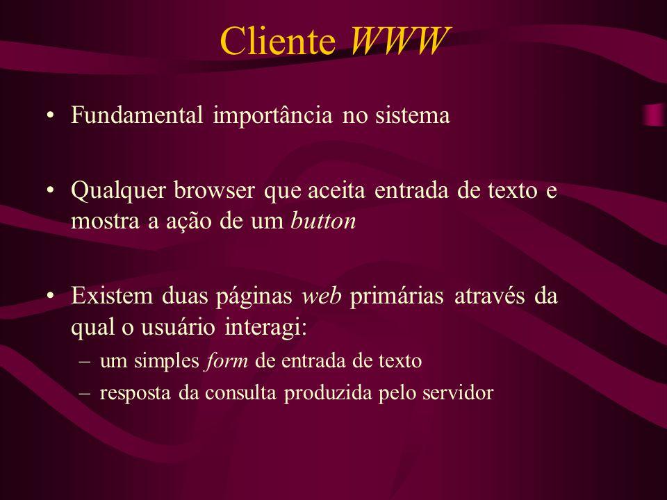 Cliente WWW Fundamental importância no sistema
