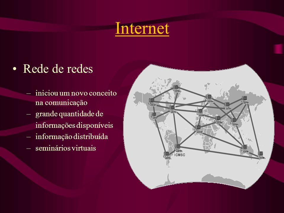 Internet Rede de redes iniciou um novo conceito na comunicação