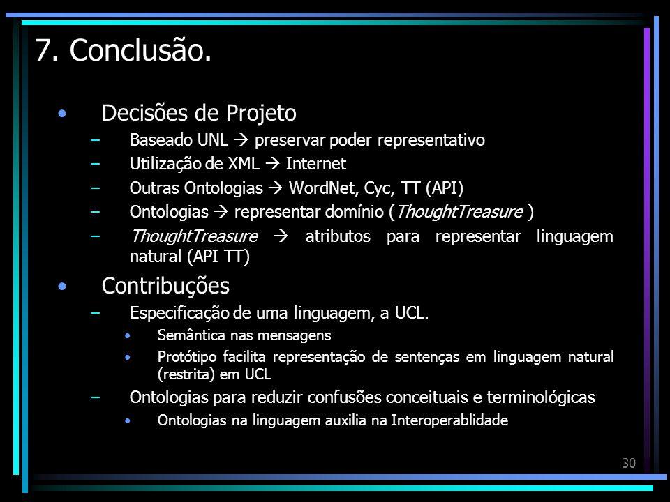 7. Conclusão. Decisões de Projeto Contribuções