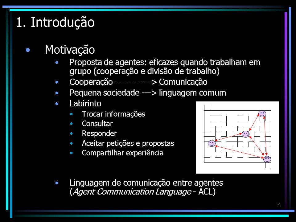 1. Introdução Motivação. Proposta de agentes: eficazes quando trabalham em grupo (cooperação e divisão de trabalho)