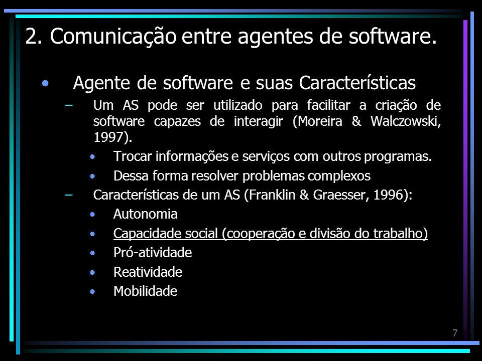 2. Comunicação entre agentes de software.