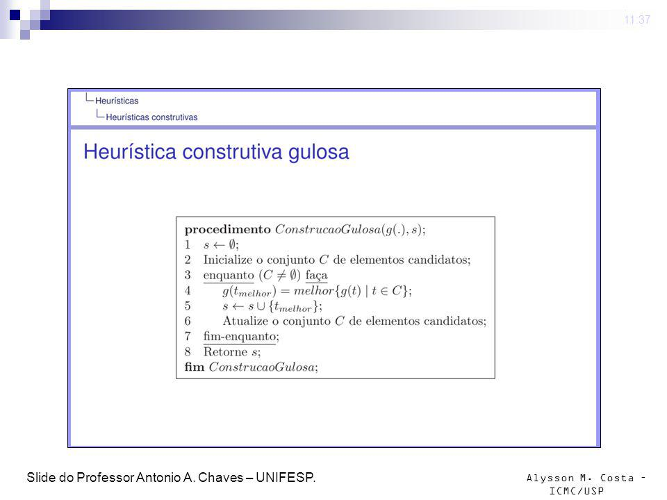 Slide do Professor Antonio A. Chaves – UNIFESP.