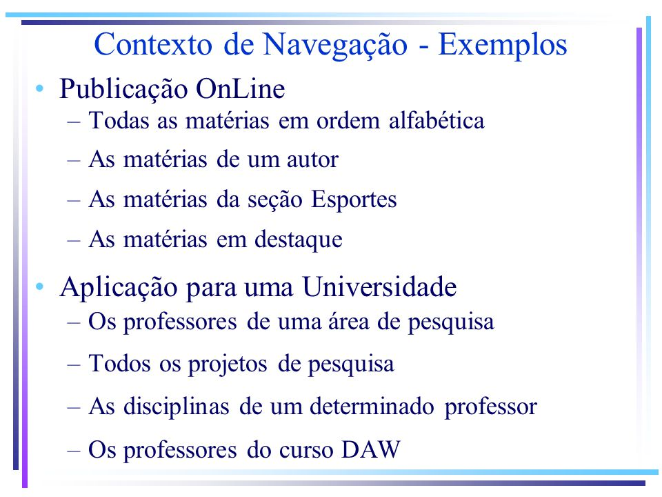 Contexto de Navegação - Exemplos