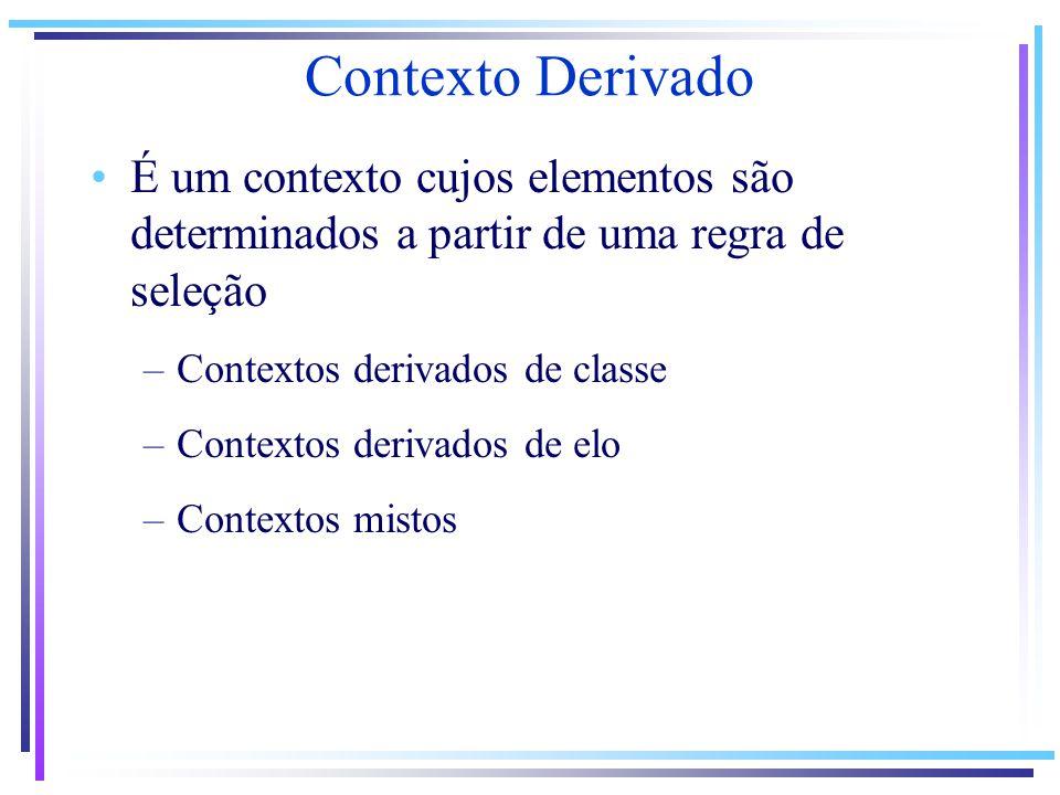 Contexto Derivado É um contexto cujos elementos são determinados a partir de uma regra de seleção.