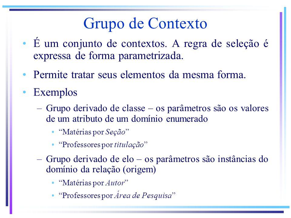 Grupo de Contexto É um conjunto de contextos. A regra de seleção é expressa de forma parametrizada.