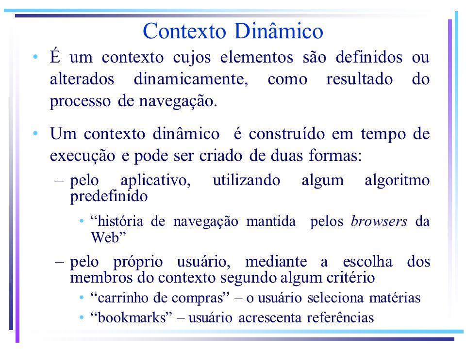 Contexto Dinâmico É um contexto cujos elementos são definidos ou alterados dinamicamente, como resultado do processo de navegação.
