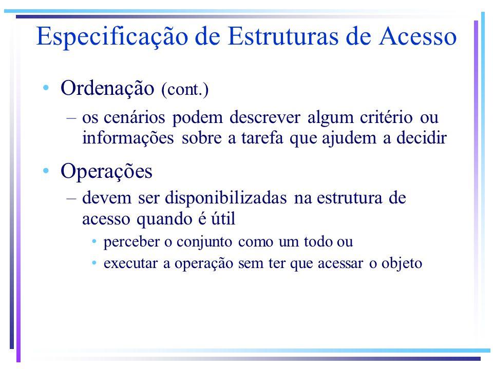 Especificação de Estruturas de Acesso