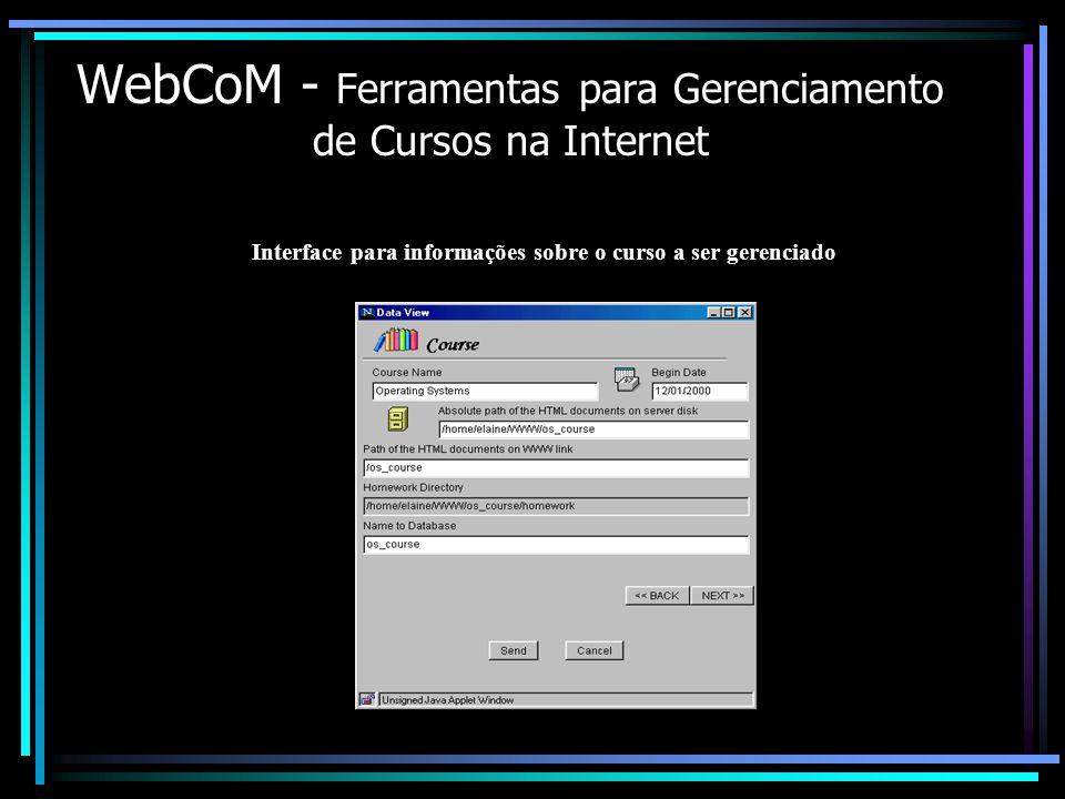 WebCoM - Ferramentas para Gerenciamento de Cursos na Internet