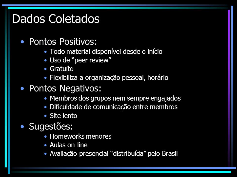 Dados Coletados Pontos Positivos: Pontos Negativos: Sugestões: