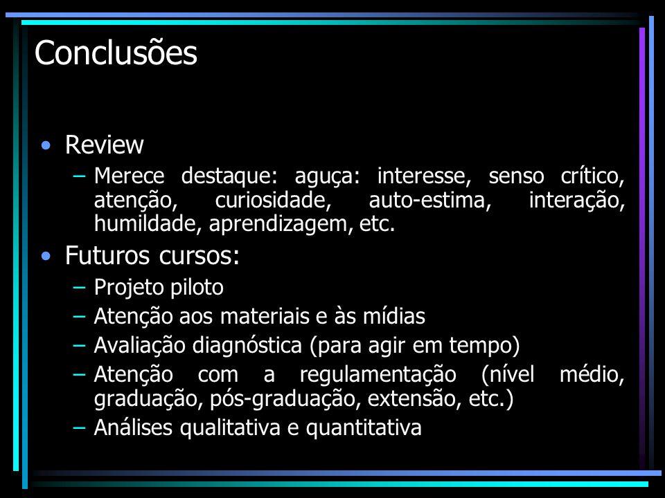 Conclusões Review Futuros cursos: