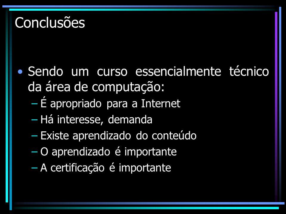 Conclusões Sendo um curso essencialmente técnico da área de computação: É apropriado para a Internet.