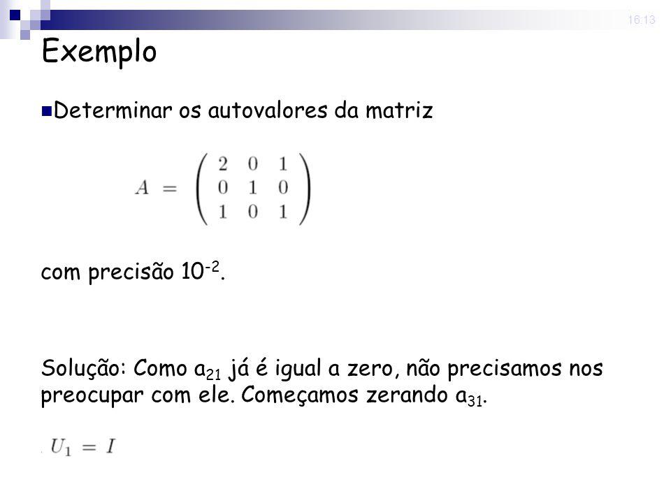 Exemplo Determinar os autovalores da matriz com precisão 10-2.