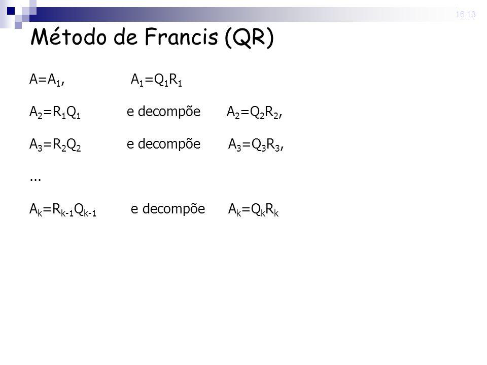Método de Francis (QR) A=A1, A1=Q1R1 A2=R1Q1 e decompõe A2=Q2R2,