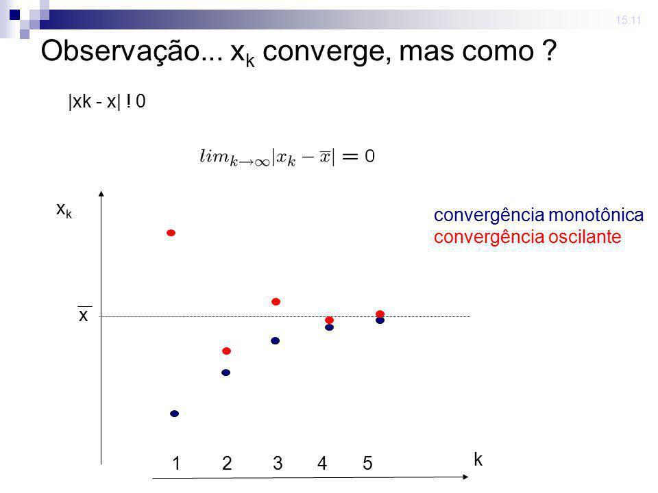 Observação... xk converge, mas como