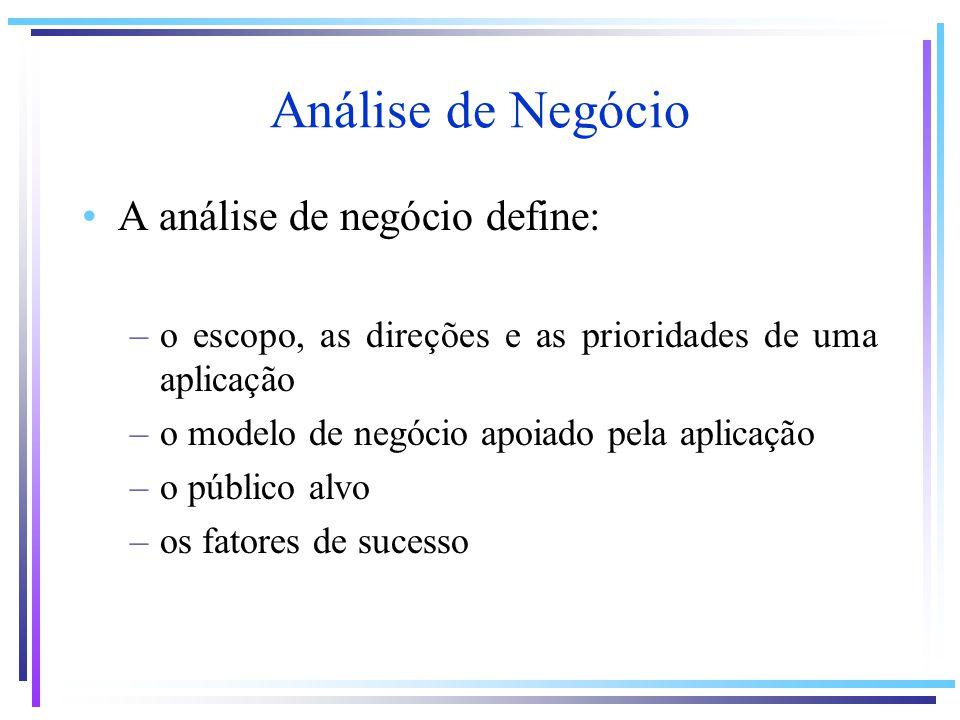 Análise de Negócio A análise de negócio define: