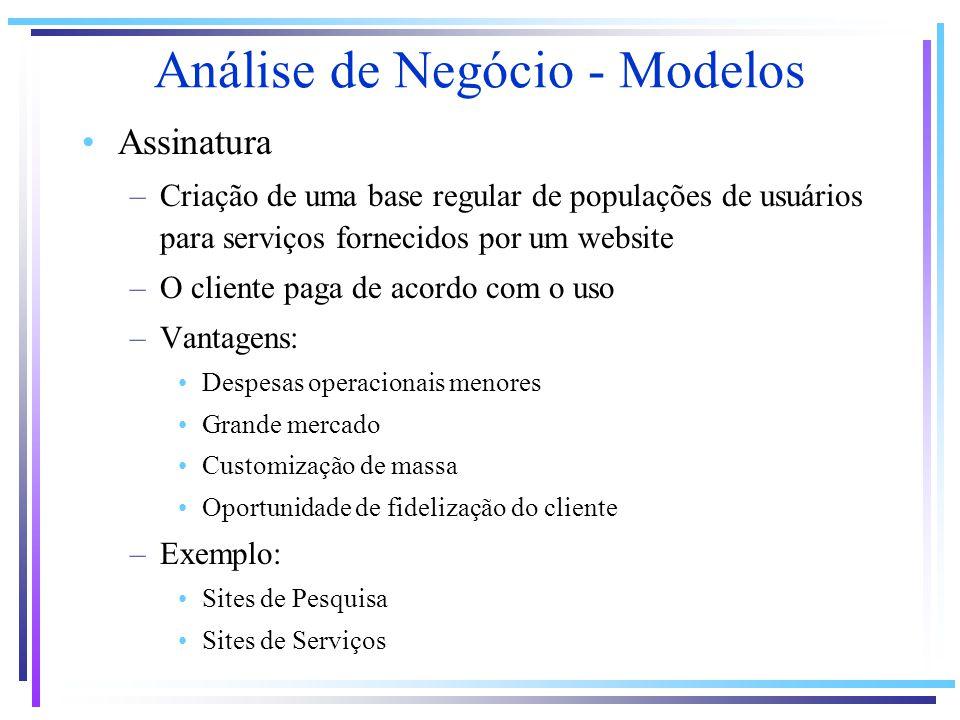 Análise de Negócio - Modelos