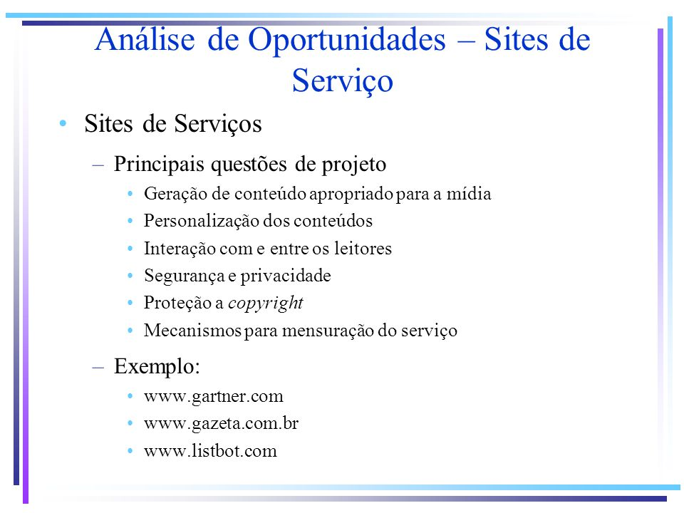 Análise de Oportunidades – Sites de Serviço