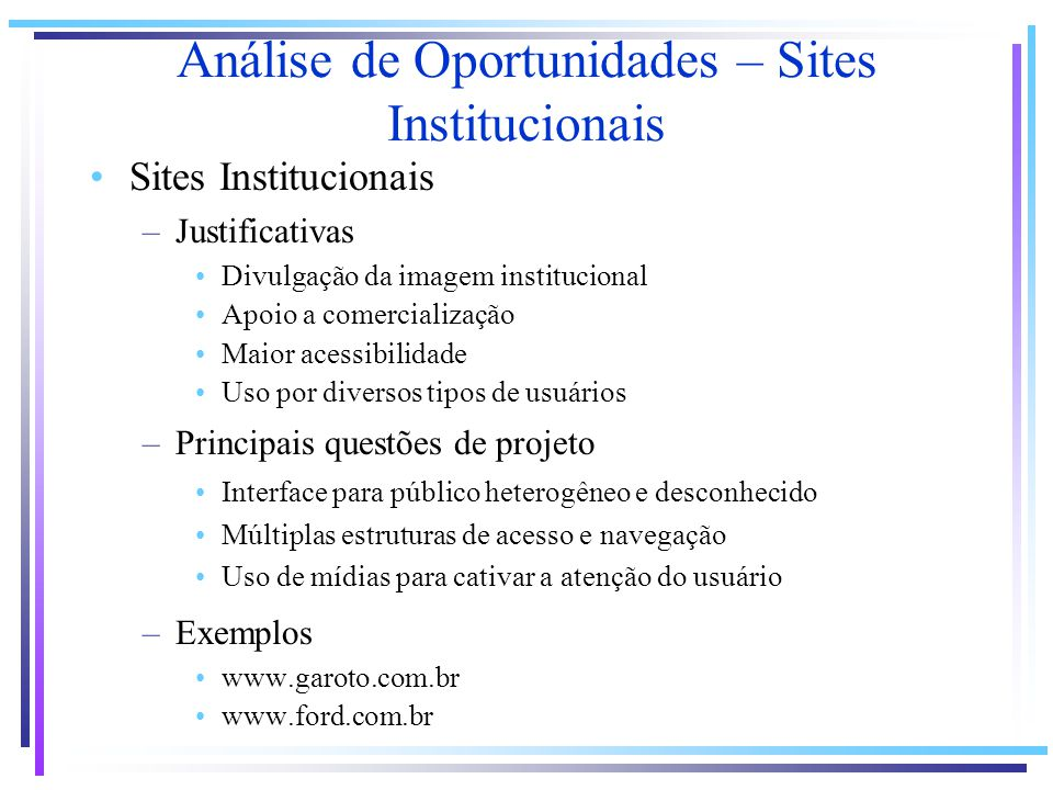 Análise de Oportunidades – Sites Institucionais