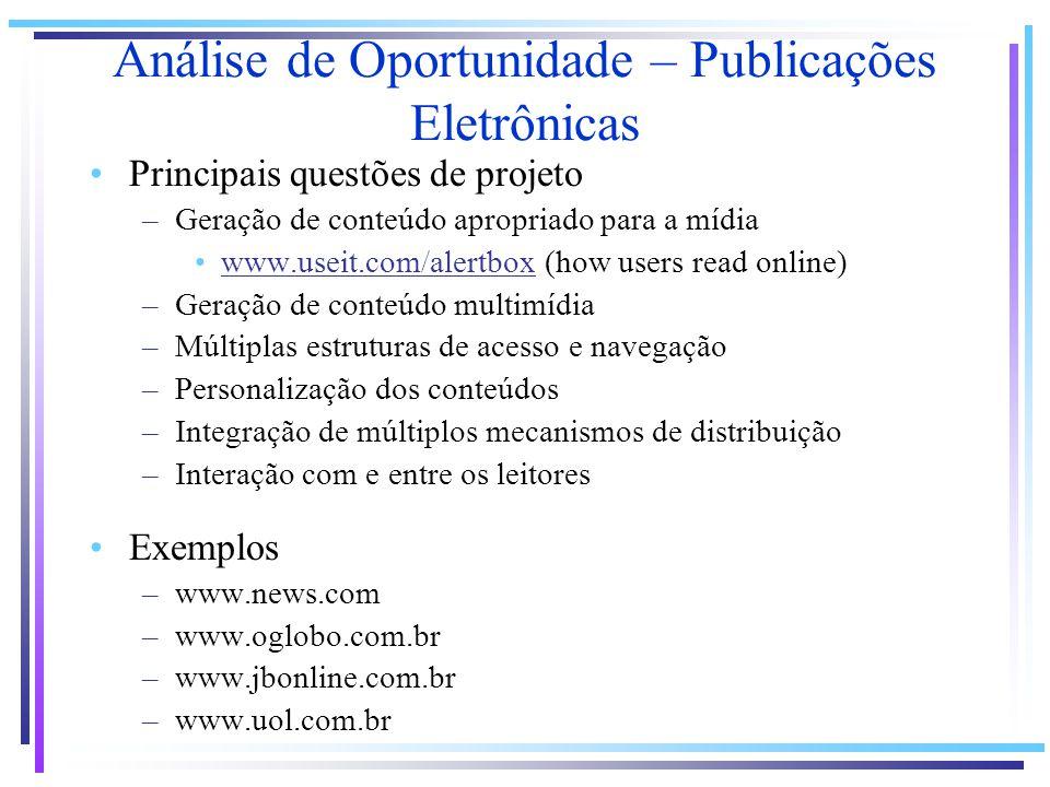 Análise de Oportunidade – Publicações Eletrônicas