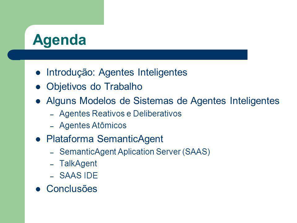 Agenda Introdução: Agentes Inteligentes Objetivos do Trabalho