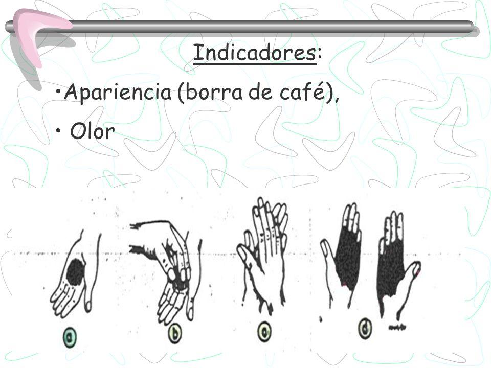 Indicadores: Apariencia (borra de café), Olor