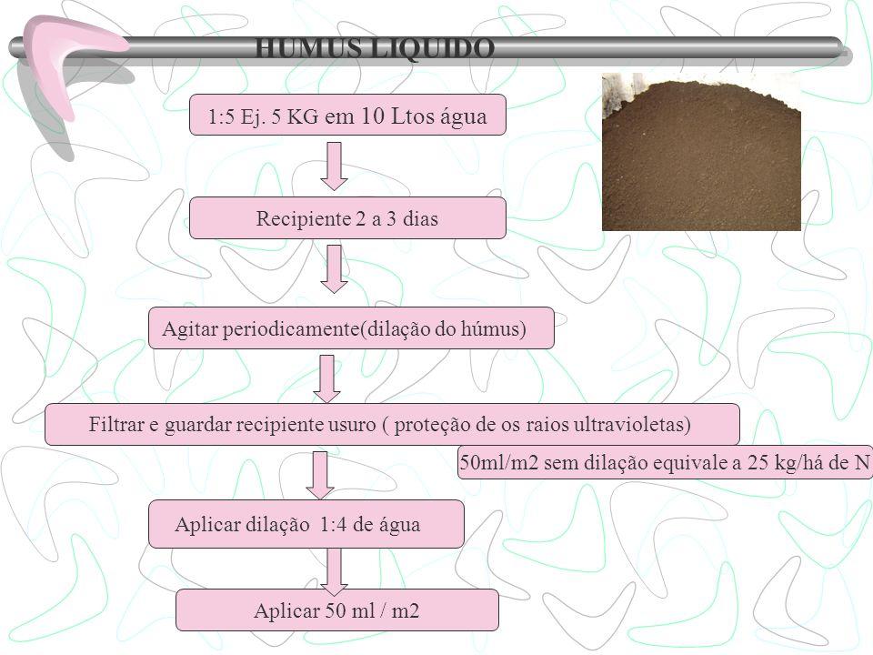 HUMUS LIQUIDO 1:5 Ej. 5 KG em 10 Ltos água Recipiente 2 a 3 dias