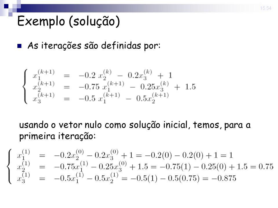 Exemplo (solução) As iterações são definidas por: