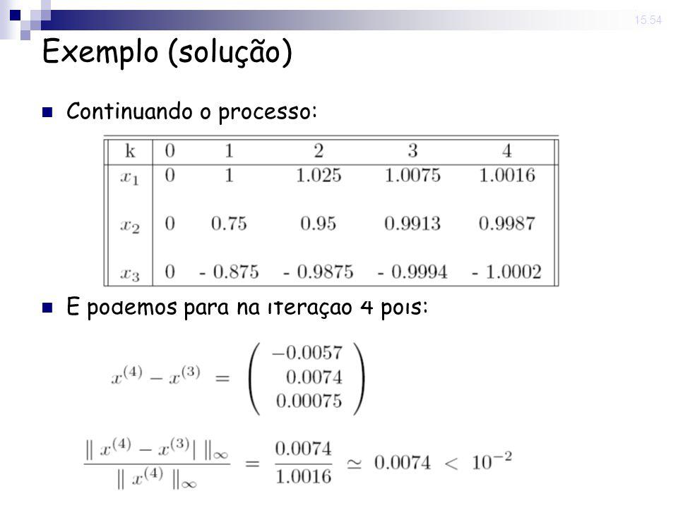 Exemplo (solução) Continuando o processo: