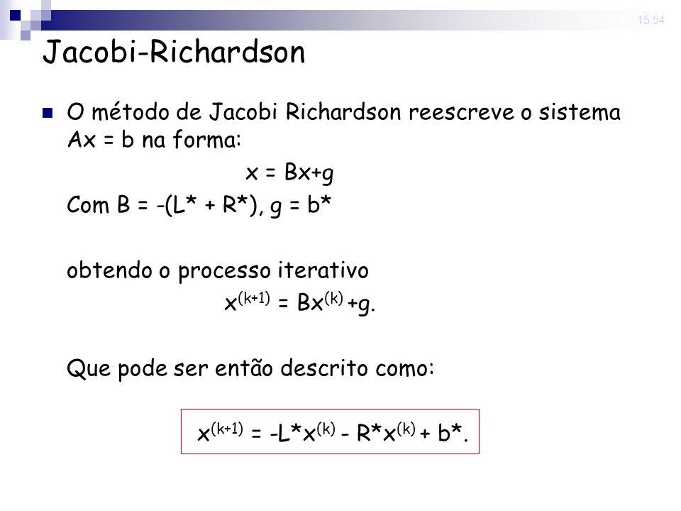 14 Nov 2008 . 15:54 Jacobi-Richardson. O método de Jacobi Richardson reescreve o sistema Ax = b na forma: