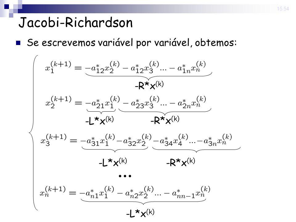 ... Jacobi-Richardson Se escrevemos variável por variável, obtemos: