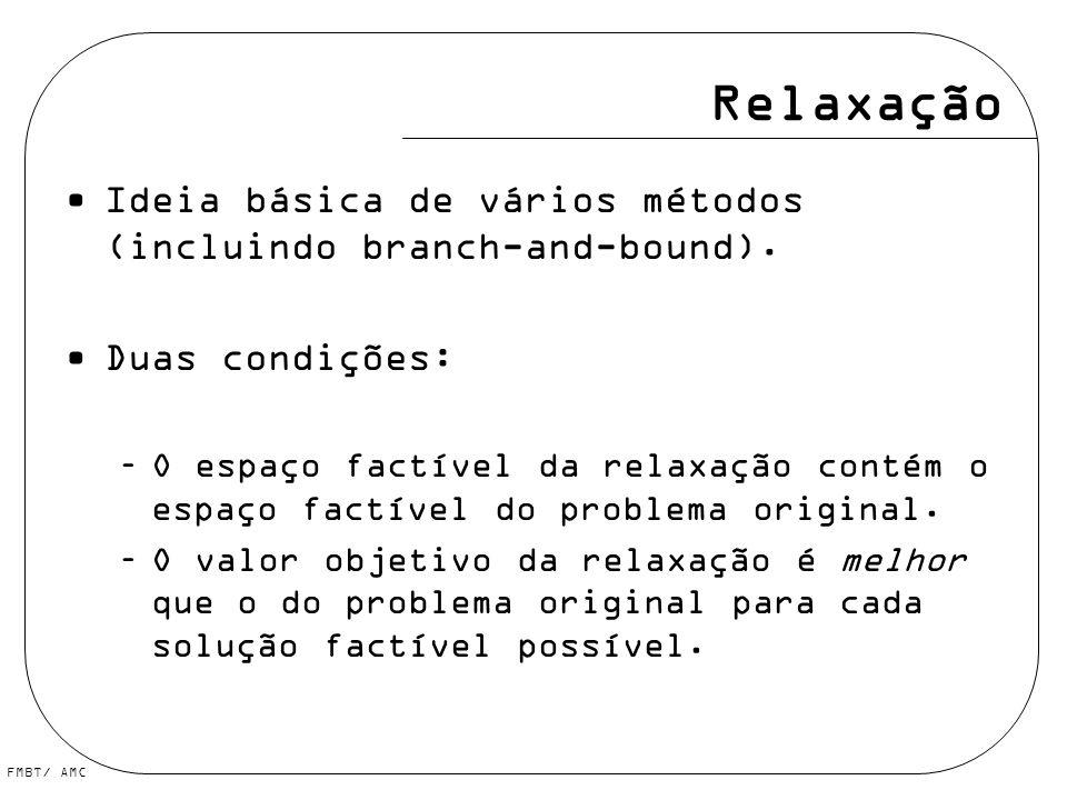 Relaxação Ideia básica de vários métodos (incluindo branch-and-bound).