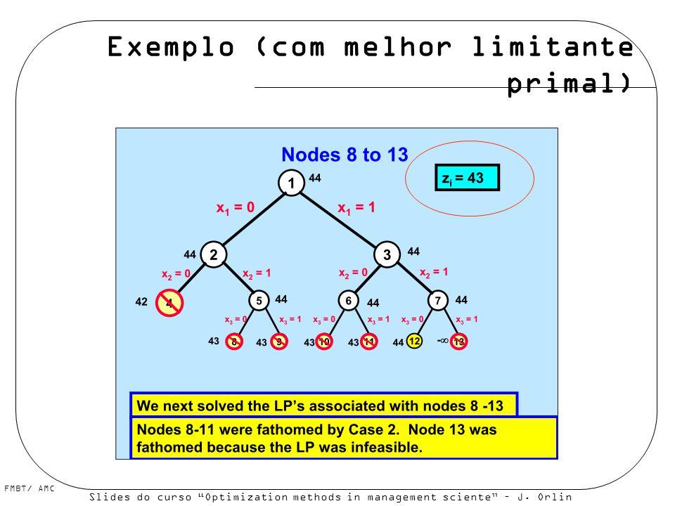 Exemplo (com melhor limitante primal)
