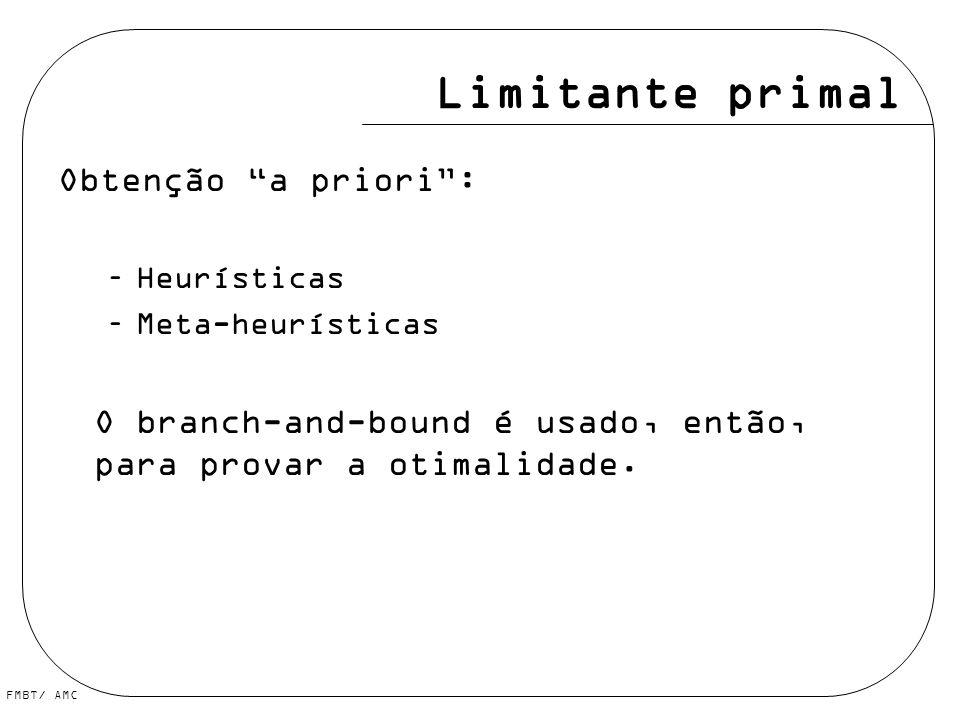Limitante primal Obtenção a priori :