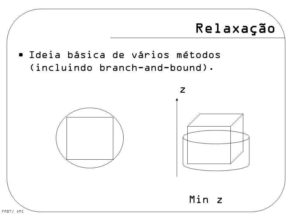 Relaxação Ideia básica de vários métodos (incluindo branch-and-bound). z Min z
