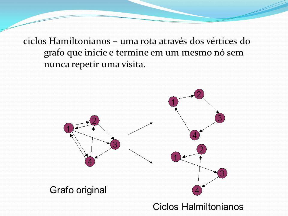 ciclos Hamiltonianos – uma rota através dos vértices do grafo que inicie e termine em um mesmo nó sem nunca repetir uma visita.