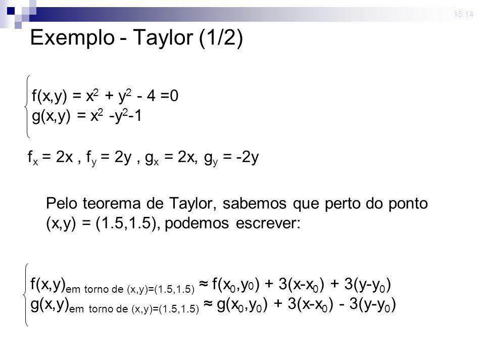 Exemplo - Taylor (1/2) f(x,y) = x2 + y2 - 4 =0 g(x,y) = x2 -y2-1
