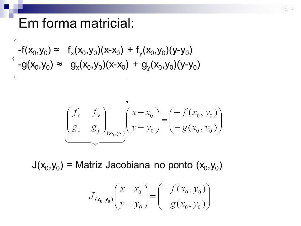 Em forma matricial: -f(x0,y0) ≈ fx(x0,y0)(x-x0) + fy(x0,y0)(y-y0)