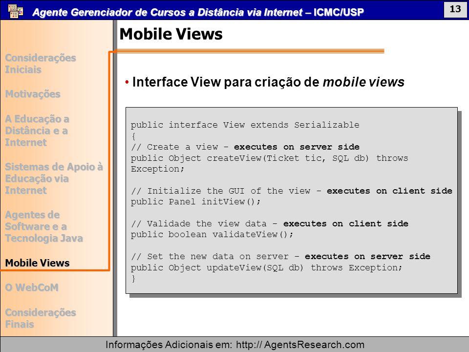Mobile Views Interface View para criação de mobile views